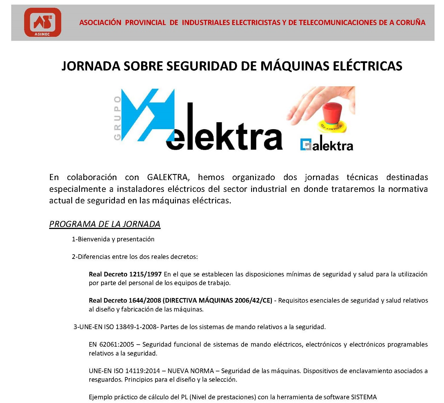 XORNADAS SEGURIDADE EN MÁQUINAS ELÉCTRICAS GALEKTRA CORUÑA_SANTIAGO_0